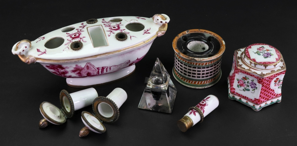 Lot 49 - A French porcelain inkstand, with gilt metal mounts, late 19th century,