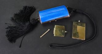 A silver gilt and blue guilloche enamelled minaudiere, English import marks for 1923,