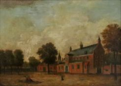 Northern European School, 18th Century, Three figures outside a building, oil on panel, 24 x 34cm.