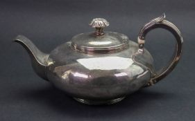 A George IV silver compressed circular teapot, London 1825, makers mark M S, with threaded rim,