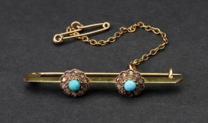 A turquoise and diamond-set yellow precious metal bar brooch,