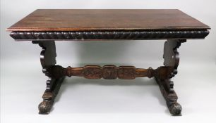A late 17th century style walnut refectory table,