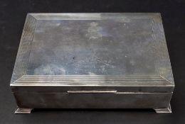 An Art Deco style silver cigar box, Hardy Brothers, Birmingham 1965,