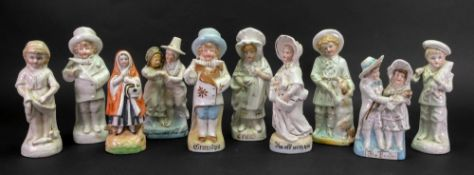 A group of ten Continental figures, late 19th century, including; Jenny Jones and Ned Morgan,