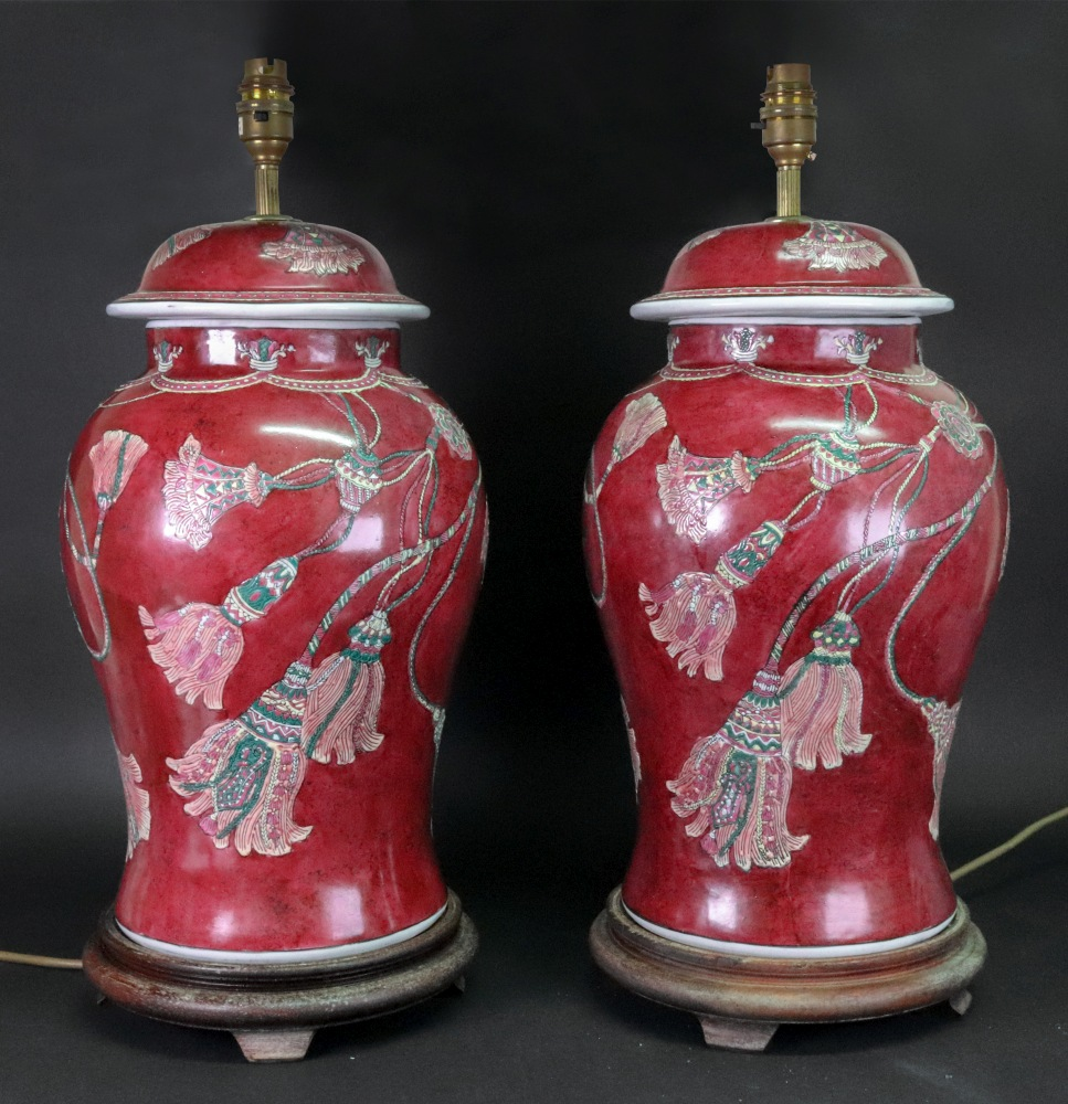 Lot 56 - A pair of Carlos Remes London baluster vase table lamps,