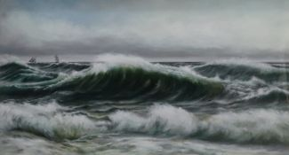 English School, late 19th/early 20th Century, Rough Seas, oil on canvas, 54.5 x 87cm.