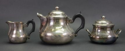 A French electroplated three piece tea service, first half 20th century,