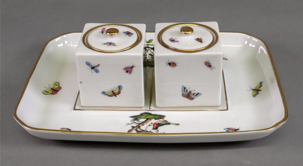 Lot 89 - A Herend inkstand, 20th century, painted with the Rothschild Bird pattern,