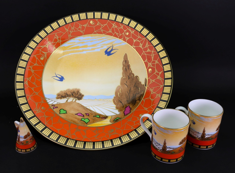 Lot 7 - 'Swallows at Dusk', a large Royal Worcester footed dish from the Art Deco collection, 2001,