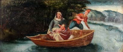 European School, 18th/19th Century, The Madonna and child in a boat, with a settlement beyond,
