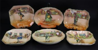 Three pairs of Royal Doulton Dickens ware dishes, one pair shaped rectangular, 23cm wide,