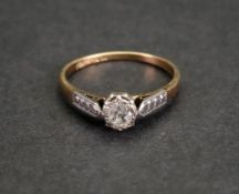 An 18ct gold and platinum, diamond-set single-stone ring,