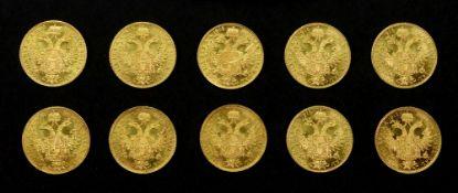 Ten Austrian 1915 gold 1 ducat, re-struck, 35g.