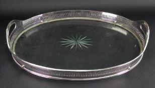 A George III style oval electroplate tray, Meriden U.S.A.