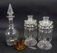 A pair of Regency style cut glass lustres, hung with faceted and spike shape drops,