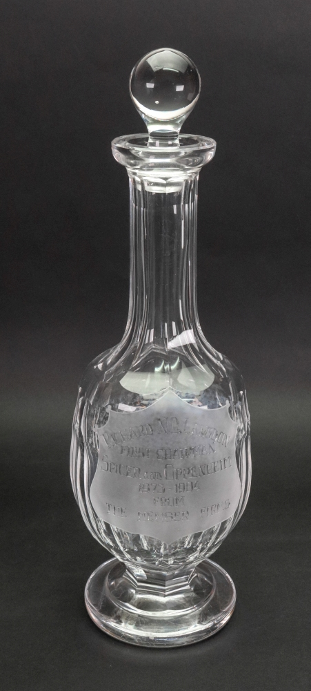 Lot 3 - A Waterford facet cut glass decanter, inscribed with a presentation inscription '...