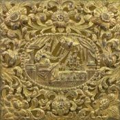 A gilt metal panel, 17th century, possibly Sicilian, pierced and embossed,