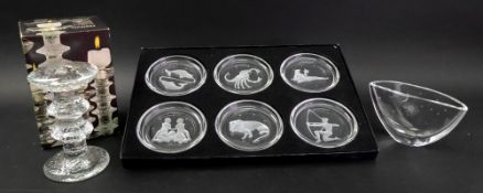A boxed set of six Val St Lambert signs of the zodiac glass coasters, each 9cm diameter,