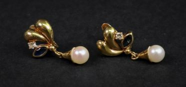A pair of 18ct gold, cultured pearl, white stone and sapphire-set pendant earrings,