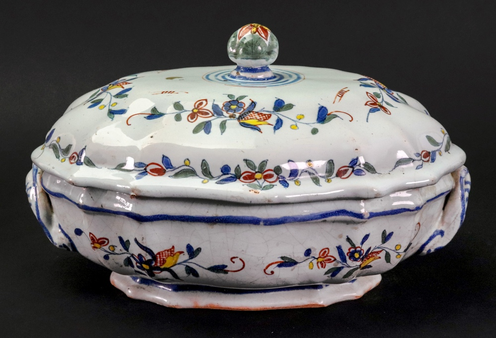Lot 4 - A French Faience polychrome two-handled tureen and cover, 18th century,