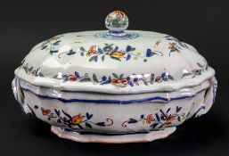 A French Faience polychrome two-handled tureen and cover, 18th century,