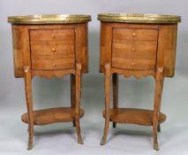 A pair of Louis XV style kingwood table de nuit, 19th century,