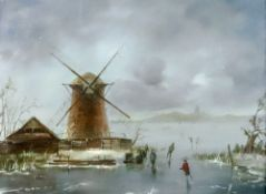 Dutch School, 19th Century, Figures ice skating by a windmill, initialled 'BZK' (lower right),