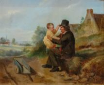 Hendrick Joseph Dillens (Belgian, 1812-1872), A father and son on a country lane,