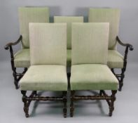 A set of four reproduction late 17th century style walnut dining chairs,