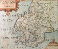 A hand coloured and engraved map of Pembrokeshire, circa 1610,