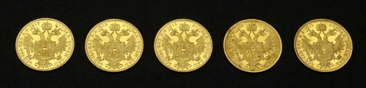 Five Austrian 1915 gold 4 ducats, re-struck, 69.8g.