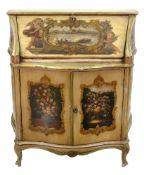 An Italian polychrome painted bureau, in mid 18th century style.