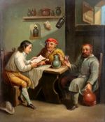 European School, 19th century, three figures seated at a table, oil on board, 28 x 24cm.
