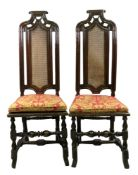 A pair of William and Mary walnut frame dining chairs,
