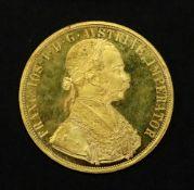 Austrian 1915 gold 4 ducat, re-struck, 13.9g.