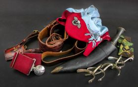 A Parachute Regiment belt, The Victor Buckle, a leather Sam Brown, two pairs of spurs,