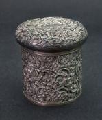 An Edwardian silver cylindrical dressing table jar, James Deakin & Son, Chester 1902,