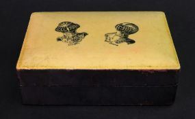 A rectangular black leather covered box, mid 20th century,