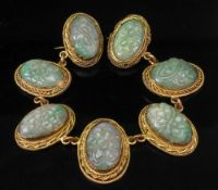 A carved jadeite sectional necklace brooch combination,