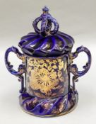 A Masons Ironstone jar and cover, circa 1815 - 20, with twin scrolled side handles, mitre shape,