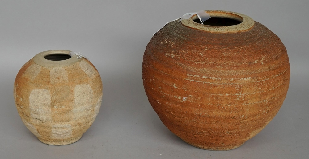 Lot 55 - Terry Davies (born 1961) two thrown vases decorated in textural glaze, signed and dated 94,