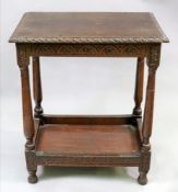 An oak two tier table, in 17th century style, reconstructed incorporating earlier elements,