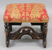 A Charles II walnut frame stool, with an upholstered rectangular stuff over seat,