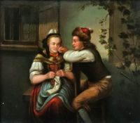Northern European School, 19th Century, Youth and Old Age, a pair, oil on board, each 21 x 24cm.
