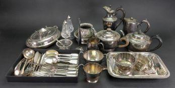 An electroplate three piece circular tea service, similar teapot,