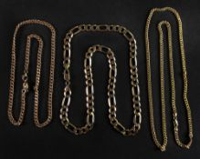Three 9ct gold necklaces,