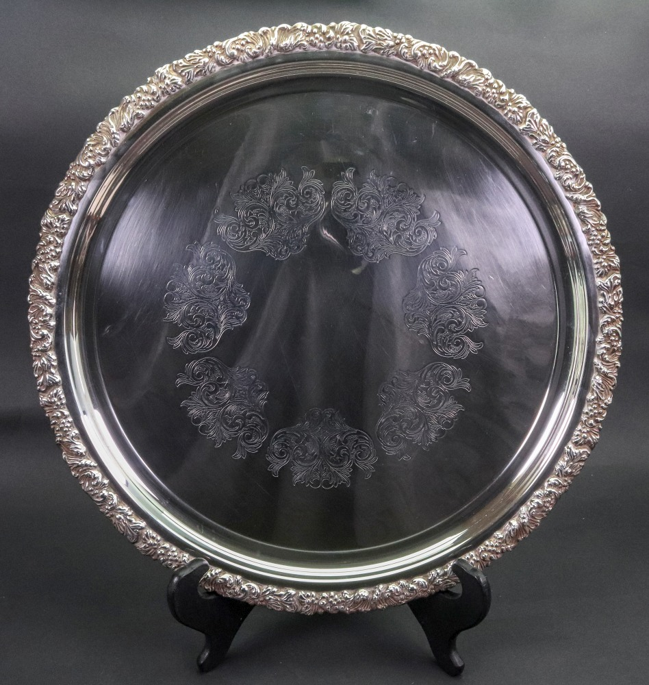 Lot 257 - A Hecworth reproduction Old Sheffield plated circular salver,