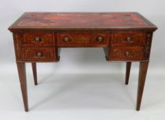 A 'Sheraton Revival' mahogany floral marquetry satinwood crossbanded boxwood and ebony strung desk,