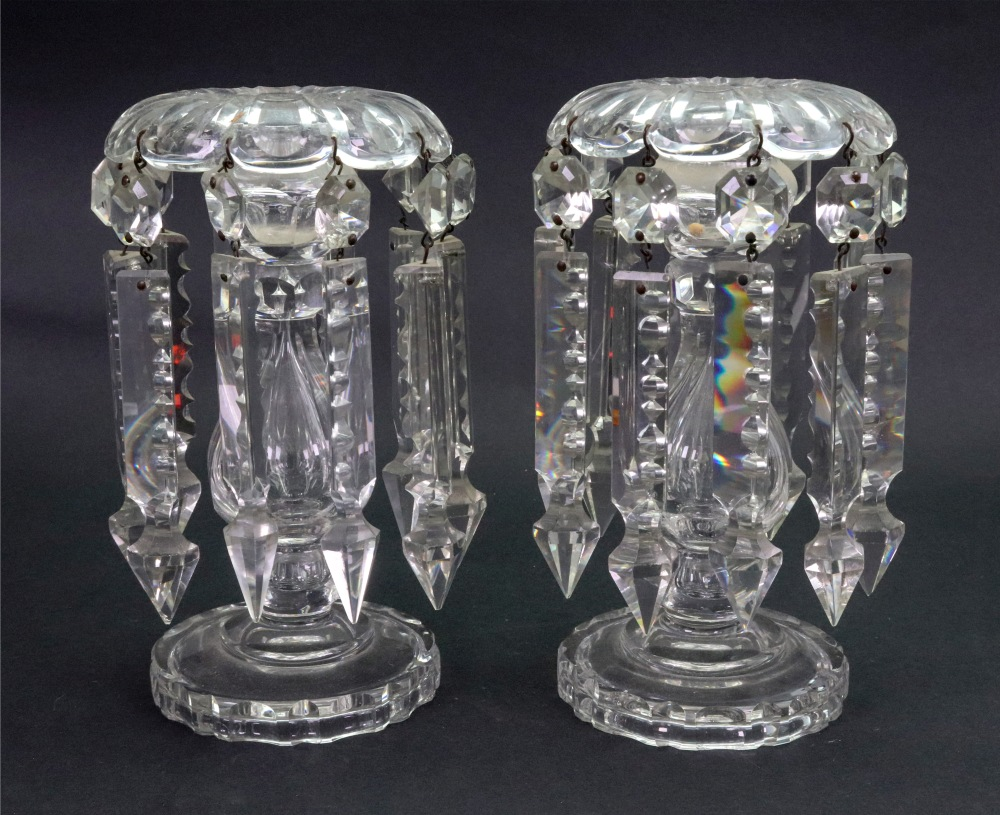 Lot 5 - A pair of Regency style glass lustres, hung with faceted and spike shape drops,