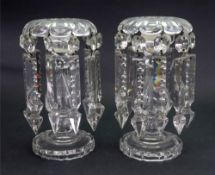 A pair of Regency style glass lustres, hung with faceted and spike shape drops,